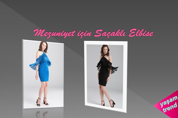 mezuniyet için saçaklı elbise modelleri