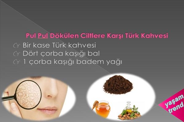 pul pul dökülen ciltlere karşı türk kahvesi
