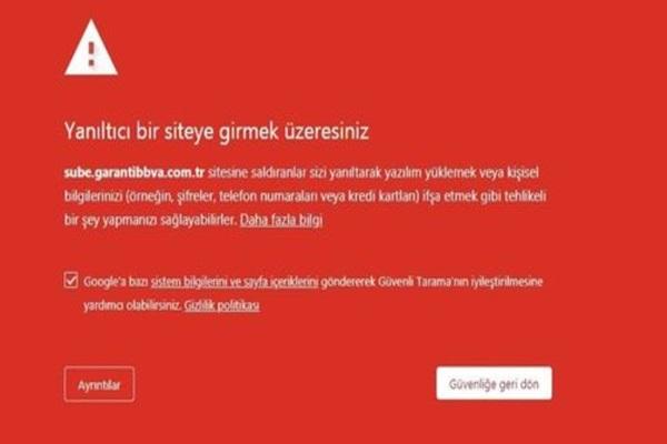 garanti bankası phishing uyarısı