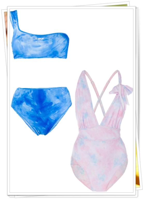 tek omuzlu batik desenli bikini