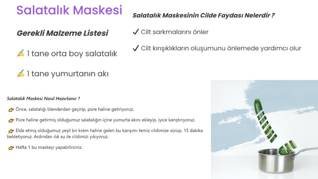 salatalık maskesi tarifi