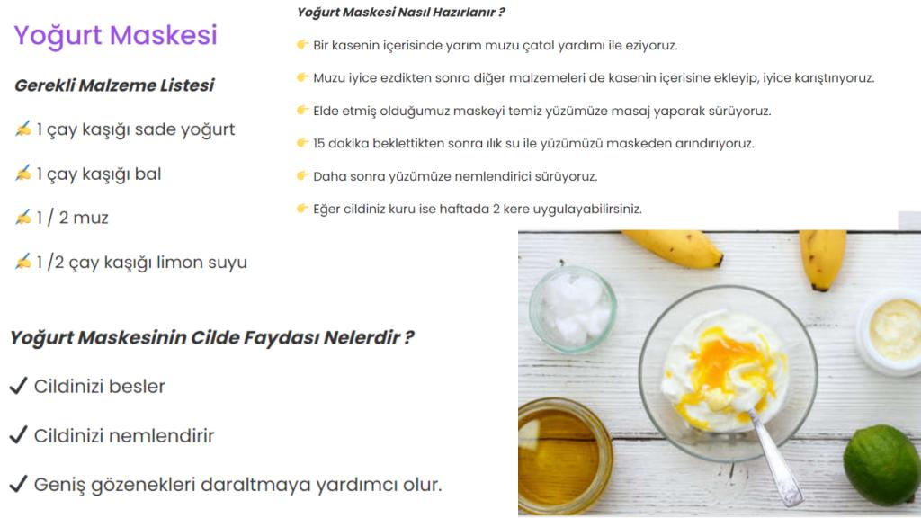 yoğurt maskesi tarifi